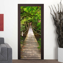 2Pcs DIY Mural Wood Bridge 3D Door Sticker Waterproof PVC Sticker on the Door Bedroom Decoration Door Stickers Wallpaper
