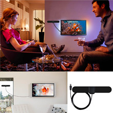 OCDAY 25 Miles Range F Male Connector Ultra-thin Indoor TV HDTV Antenna antena de TV with High Signal Capture of Coaxial Cable(China)
