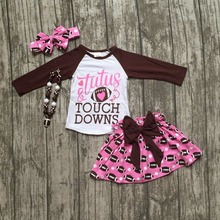 Football clothes tutus touch downs Fall baby girls boutique skirt ruffle hot pink long sleeves bow heart with matching accessory