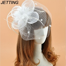 JETTING Hot Sale White Black Red Birdcage Net Wedding Bridal Fascinator Face Veils Feather Flower with Hairpins