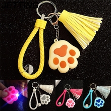 JETTING Cat Claw Knit Rope LED lights Key Ring Pendant Sound Keychains cat meow gift Bag accessories for Children