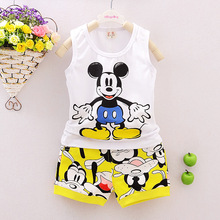 Baby Boy Clothing Set Sleeveless Shirt + Shorts Kid Clothing Set Mickey Pattern Children Clothing Set Vest Summer Syle