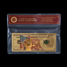WR Vintage Home Decor Colorful Gold Banknote American  24K Gold Plated Kobe Bryant 100 Dollar Paper Money with COA Frame