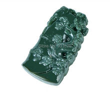 100% Natural Hand-carved Flower Green Jade Pendants Chinese Hetian Jade Pendant Necklace Fine Jade for woman and man wholesales