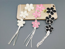 5pcs per lot Cell Phone Case DIY Flowers Charms cherry blossom Alloy tassel Decoration(China)