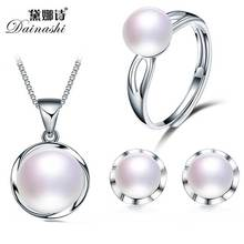 2017 Hot Selling 100% Genuine Natural Freshwater Pearl Jewelry Set, Fashion Women Bread Round 10-11mm Pearl Pendant Earring Ring(China)