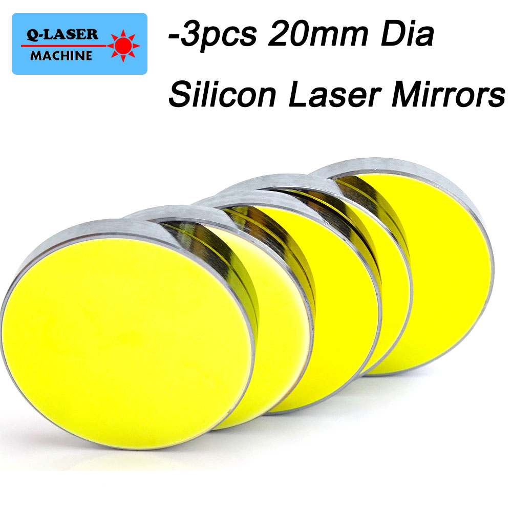 3pcs Silicon Laser Reflect Mirror 20mm For Co2 Laser Engraving Cutting Machine(China)