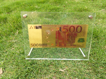 Gold Banknote Fake Money Artwork Colorful 500 Euro 24k Gold Paper Money Collection Make Money Selling With Acrylic Photo Frame