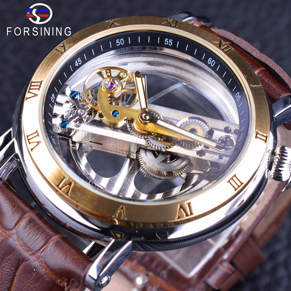 Forsining Golden Roman Number Brown Leather Double Side Transparent Steampunk Mechanical Creative Skeleton Men Automatic Watches<br>