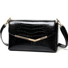 brand women messenger bags crocodile pattern patent leather handbag female small shoulder bags envelope clutch QT-310(China)