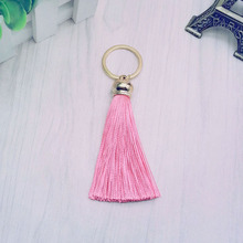 New fashion Tassel Key Chain women Cute Tassel KeyChain bag accessory - Silk Tassels Car Key ring fringe jewelry #16022(China)