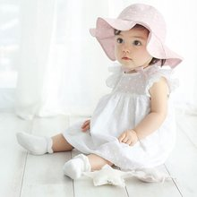 Summer Outdoor Infant Visor Cotton Sun Cap Floral Print Baby Girl Pink White Beach Bucket Hats