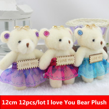 12cm 12pcs/lot Kid Toys Plush Doll Mini Small Diamond Teddy Bear Stuffed Plush with Words Wedding Party Decor Flower Bouquet(China)