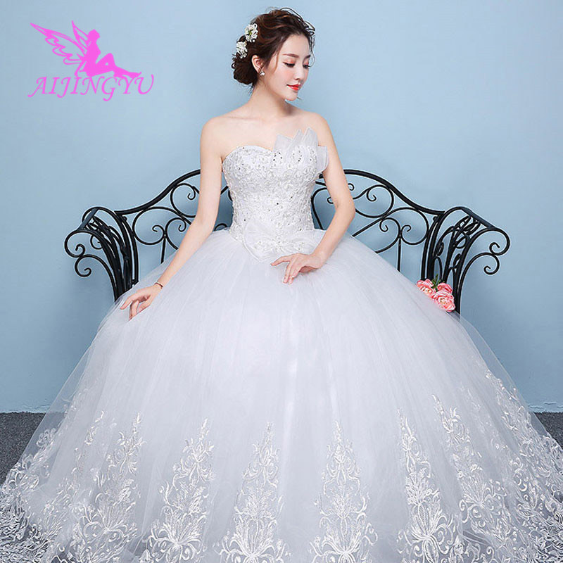 AIJINGYU 2018 princess free shipping new hot selling cheap ball gown lace up back formal bride dresses wedding dress WK430