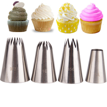4PCS Big Cream Icing Piping Nozzles Cake Baking Tools Stainless Steel Decorating Tips Set Bakeware Pastry(China)