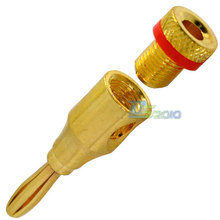 Brand New High Quality 1 Pair (2 Pcs) Banana Plug Gold Plated Red Black Ringed Connector New
