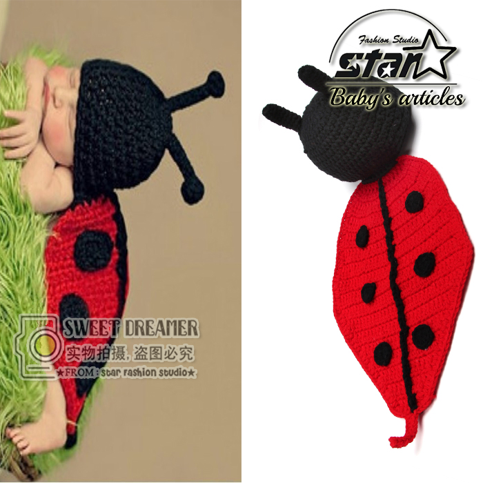 Baby Shower Birthday Newborn Knit Ladybird Cap+Cover Bellyband Photograph Props Costume For Infantis Bebe Baby Boy/Girl Clothes <br><br>Aliexpress