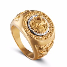 ZMZY Fashion Punk Biker Gold Color 316L Stainless Steel Ring Carving Unique Animal Head Lion Rings for Men Jewelry