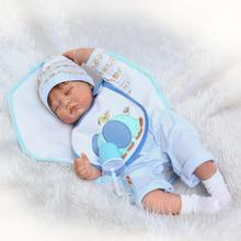 "Pursue 22""/55 cm Realistic Smile Face Close Eyes Silicone Reborn Doll Babies Sleeping Boy for Children Best Birthday Present Toy(China)"