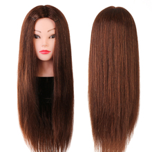 "4# 24"" 50% Real Animal Hair Hairdressing Training Head Mannequin Head Hair Cut Salon Practice Model(China)"