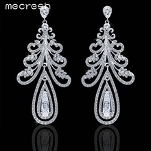 Mecresh Real Luxurious Christmas Tree Shape Cubic Zirconia Crystal Silver Color Long Earrings for Women EH234