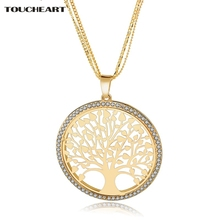 TOUCHEART Crystal Long Necklace for Women Gold color Round Tree Pendant Necklaces Personalized Wedding Jewelry Sne160124(China)