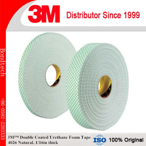 3M 4026 Double Coated Urethane Foam Tape Natural, 3/4 in x 36 yd 1/16 in<br>