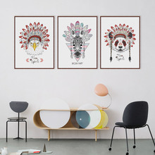 Modern Indian Hippie Fashion Animals Deer Hear Zebra Cat A4 Wall Art Print Poster Pictures Canvas Painting Home Decor No Frame
