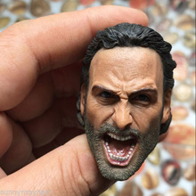 "High Quality 1/6 The Walking Dead Roaring Rick Grimes Male Head Sculpts Model Toys For 12"" Male Action Figure Accessory"