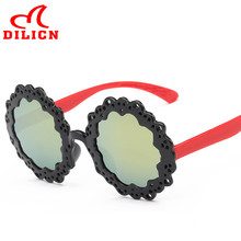 DILICN Cheap Flower Kids Sunglasses UV400 Protection Party Favors Black Sun Glasses Boys Girls Mirror Round Frame Baby Eyewear