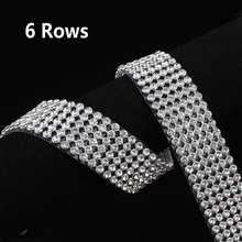 1.2m 6 Rows Diamond Hotfix Rhinestone Mesh Banding Chain with silver Aluminum base crystal trim mesh for garment(China)
