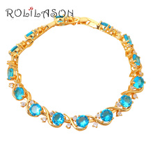 Round Navy Topa Inlay Appealing Friendship Bracelets for women  yellow Gold Tone Blue Crystal design fashion jewelry TB672