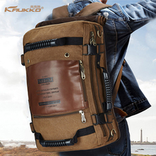 Backpack space KAUKKO Men's Vintage Canvas Duffel Convertible Bag 3 in 1 Shoulder Back Pack for backpack Travelling