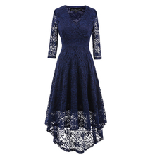 Vintage Women's High Low Lace Dress Surplice Wrap Floral Lace V Neck Three Quarters Sleeve Asymmetric Cocktail Party Dress(China)