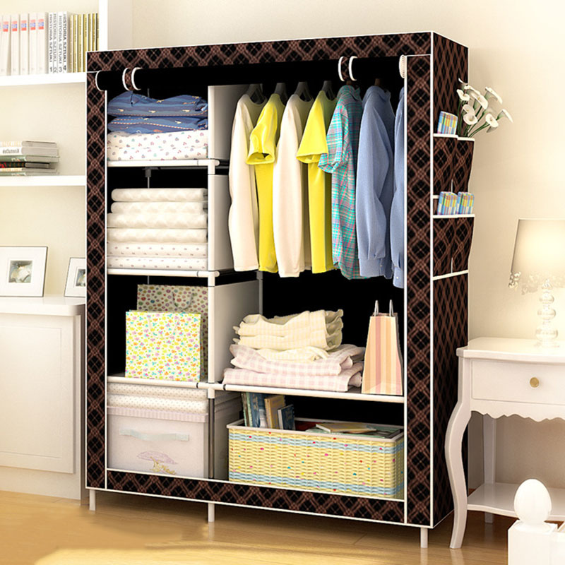 Modern Non-woven Cloth Wardrobe Folding Clothing Storage Cabinet Multi-purpose Dustproof Moistureproof Closet Bedroom Furniture<br>