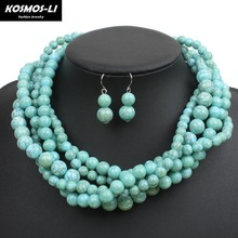 Multi Strand Knit Necklace New Fashion Resin Bead Bohemian Statement Necklace For Women Hyperbole Jewelry 6550