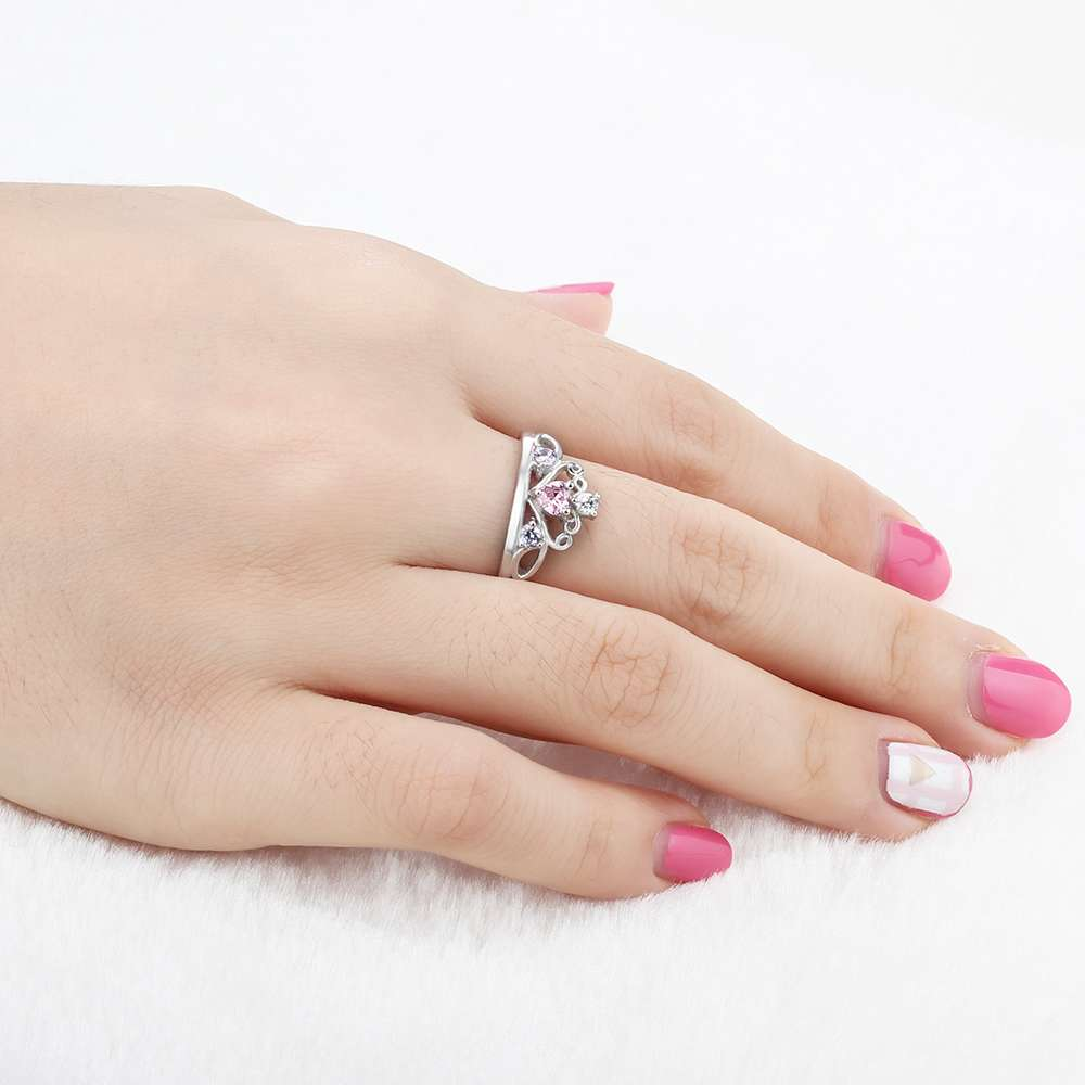 925 Sterling Silver Queen's Pink Crystal Crown Ring