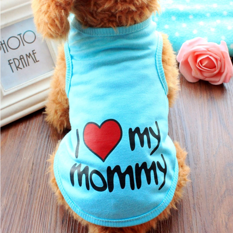 Summer Dog Clothes Pet T shirt Puppy Soft Cotton Costume Vest Teddy Love Daddy Mommy Chihuahua Outfit For Dog Clothes S-XXL(China)