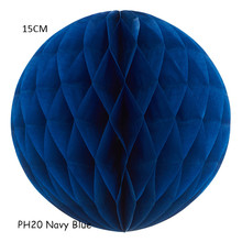 15CM=6inch 15pcs/lot Navy Blue Wedding Tissue Honeycomb Paper Panel Balls Hanging Marriage Birthday Holiday Party Decorations