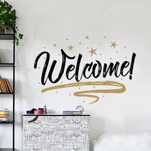 Cafe Vinyl Wall Decal Coffee Cups Coffee Welcome Words Lettering Mural Art Wall Sticker Shop Bar Window Glass Door Decoration 35(China)