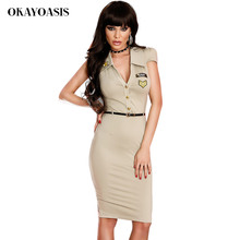 Military Dress Women Army Dresses 2017 Summer New Short Sleeves Epaulet Embellished Free Shipping (Include Belt)