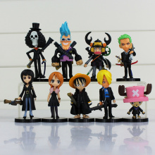 9pcs/lot Anime One Piece Figure Toy Monkey D Luffy Sanji Zoro Nami Robin Chopper Usopp Franky Brook Mini Model Doll Full Set
