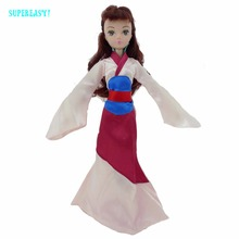 "Fairy Tale Princess Gown Exotic Long Sleeves Copy Mulan Clothes For Barbie Kurhn Doll 11"" 11.5"" Puppet Dollhouse Accessories Toy(China)"