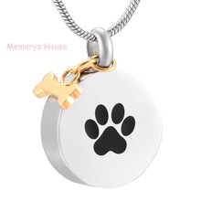 Pet Paw Print Stainless Steel Round Shape Cremation Pendant Necklace Memorial Urn Jewelry for Ashes with Gold Dog Bone Charm(China)