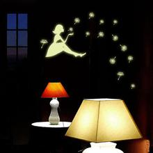 High Quality Dandelion Girl Luminous Cartoon Kids Removable Vinyl Wall 3D Sticker Free Shipping 1.25