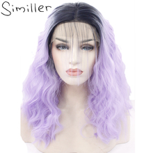 Similler Lace Front Wigs For Black Women Ombre Color Short Bob Synthetic Curly Hair Black To Purple Two Tones(China)