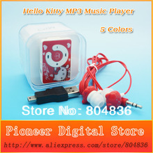 2pcs/lot Hello Kitty Christmas Gift MP3 Music Player Support Micro TF Card With Kitty Earphone&Mini USB&Box Free Shipping
