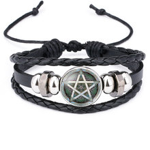 NingXiang Black Occult The Inverted Star Sign Pentagram Satanic Pentagram Star Symbols Glass Leather Bracelets Men Women Jewelry