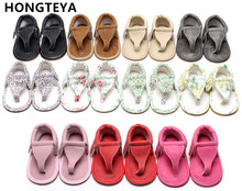 HONGTEYA Summer infant T-bar sandals 10 colors Hot sale Pu leather Baby moccasins Rubber sole tassel Baby boys girls sandals