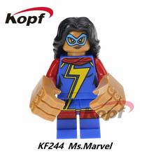 Super Heroes Ms. Marvel Skeletor Marge Simpson Wolverine He-Man Heman He Man Bricks Building Blocks Toys for children Gift KF244(China)